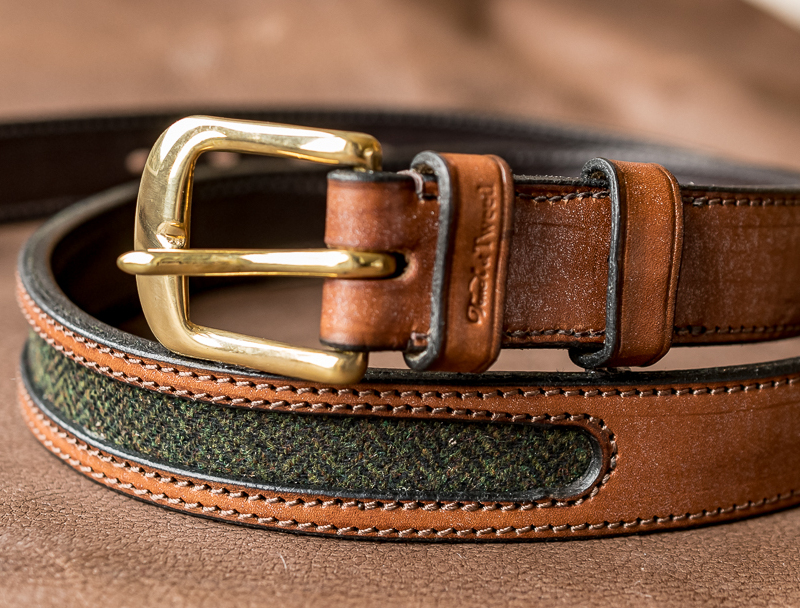 Green tweed and leather belt - Touch of Tweed - Somerset