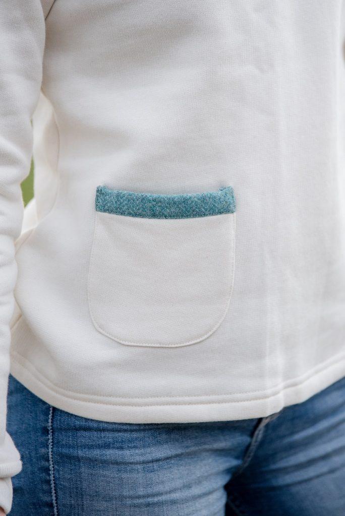 Touch of Tweed- Cream sweatshirt and tweed pocket- Somerset