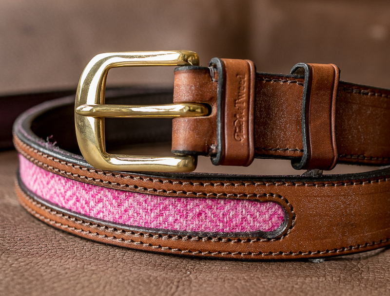 Pink tweed and leather belt - Touch of Tweed - Somerset
