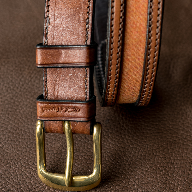 orange tweed and leather belt - Touch of Tweed - Somerset