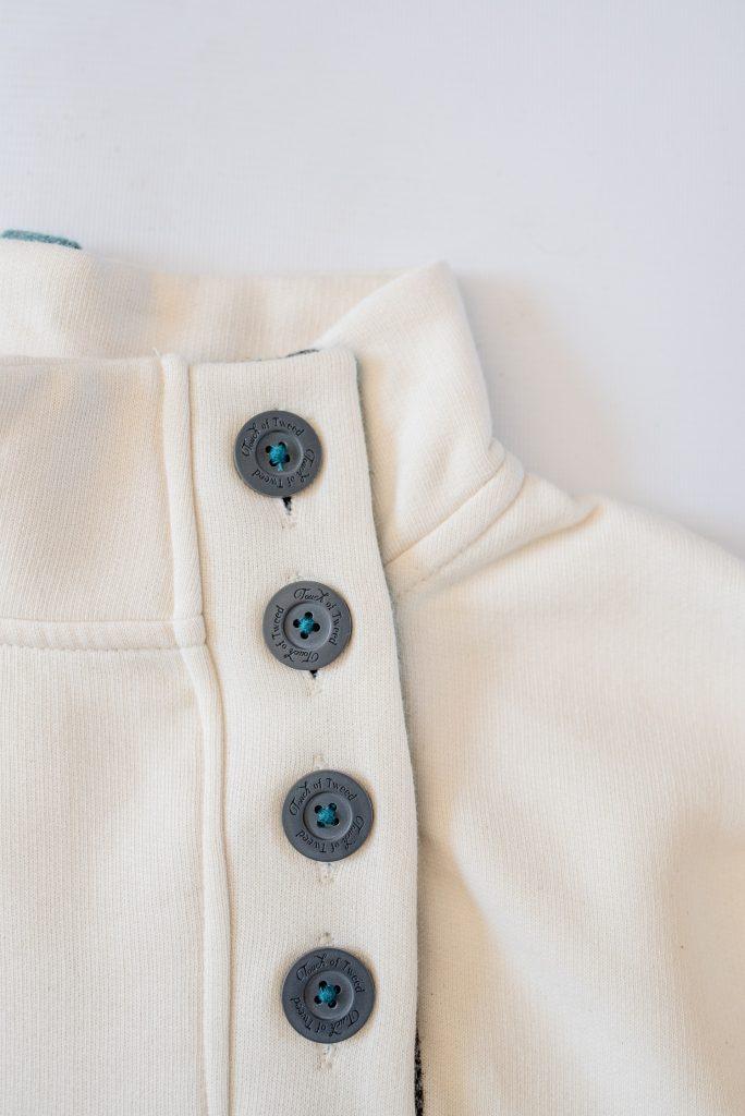 Touch of Tweed - Cream organic cotton button collar sweatshirt - Somerset