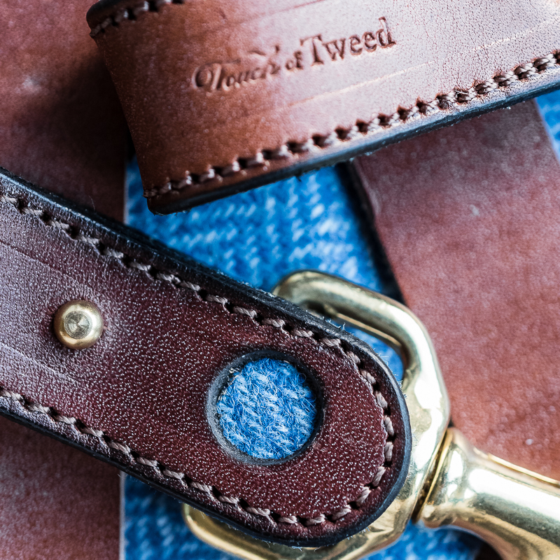 Baby Blue Tweed and Leather Kelways Keyring - Touch of Tweed - Somerset - UK