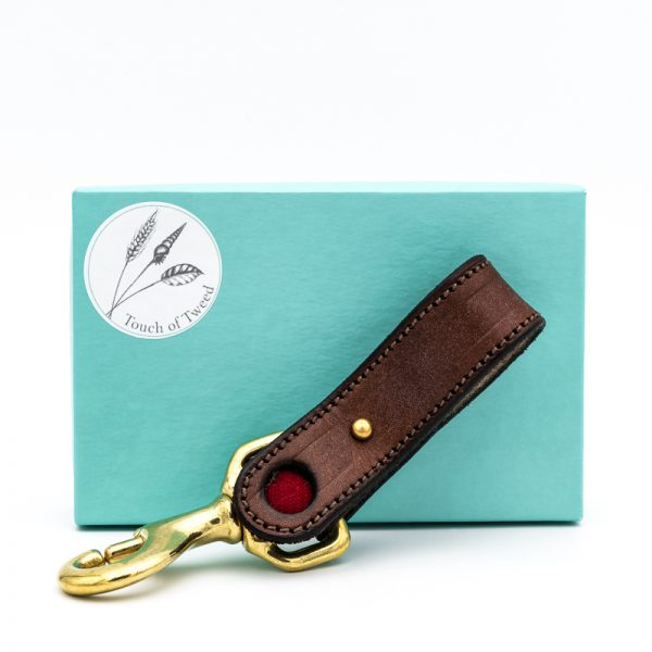 Red Tweed and Leather Kelways Keyring - Touch of Tweed - Somerset