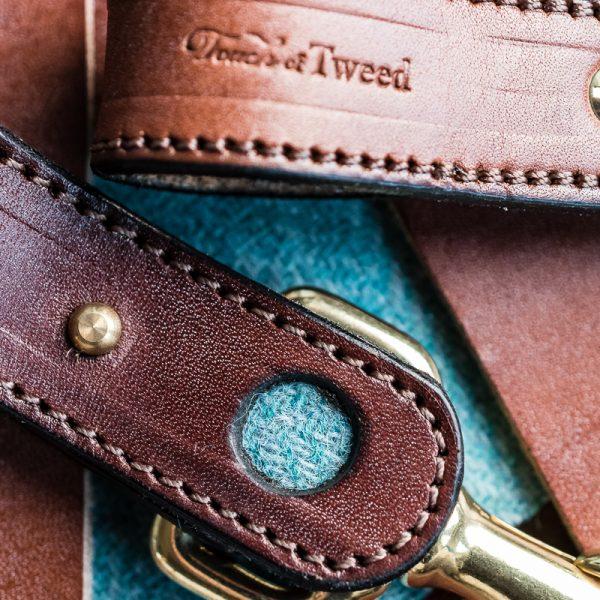 Teal Tweed and Leather Kelways Keyring - Touch of Tweed - Somerset - UK