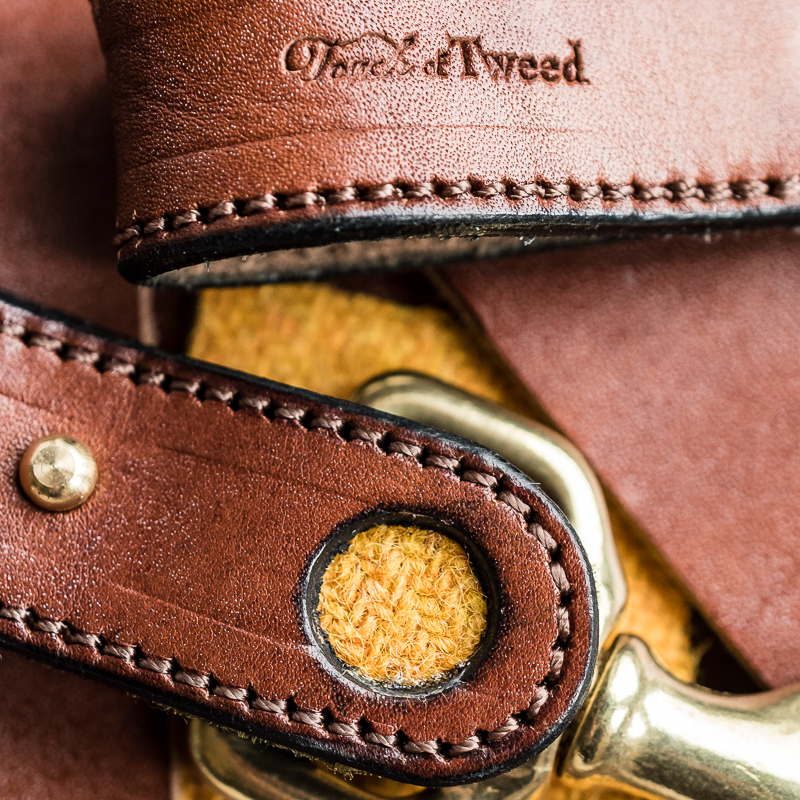 Yellow Tweed and Leather Kelways Keyring - Touch of Tweed -Somerset - UK