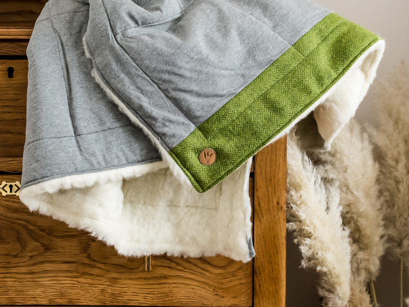 Green tweed and grey cotton blanket - Touch of Tweed - Somerset