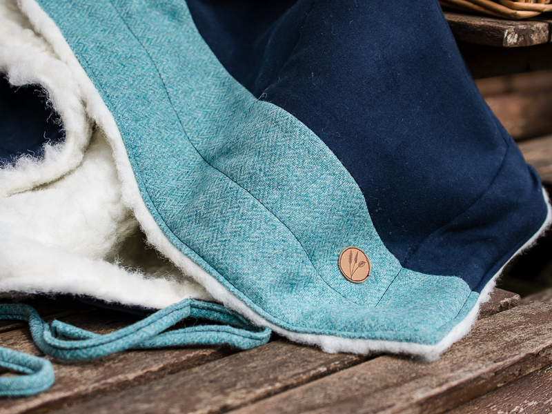 teal tweed and navy cotton blanket - Touch of Tweed - Somerset