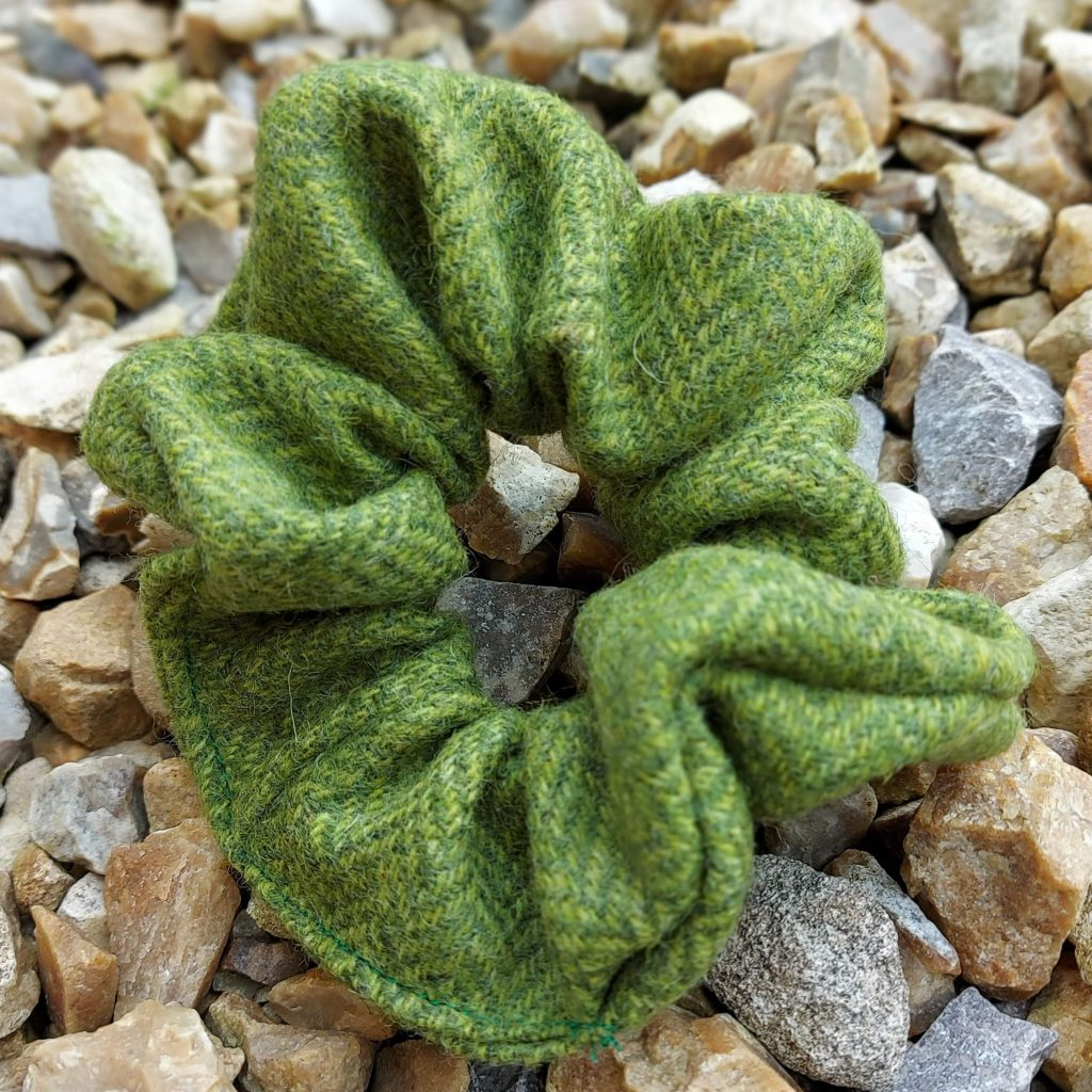 Lime Green Tweed Scrunchie- Touch of Tweed- Somerset