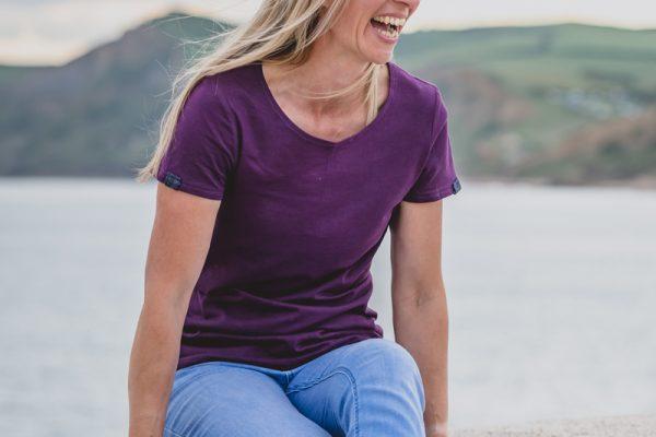 Touch of Tweed - organic cotton purple t-shirt - Dorset