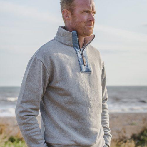 Touch of Tweed - Grey Organic Cotton Sweatshirt - Dorset
