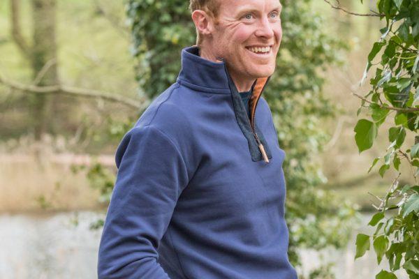 Touch of Tweed - Navy Blue Organic Cotton Quarter Zip Sweatshirt - Orange Tweed - Somerset