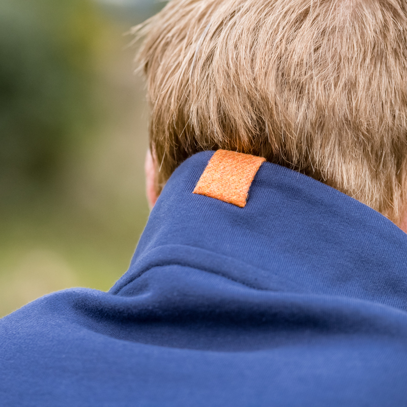 Touch of Tweed - Navy Blue Organic Cotton Sweatshirt - British Orange Tweed - Somerset