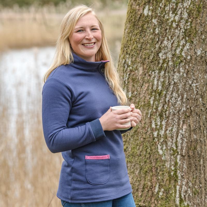 Touch of Tweed - Navy Organic cotton sweatshirt - pink tweed - Somerset