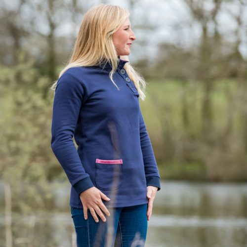 Touch of Tweed - Navy blue organic cotton sweatshirt - pink tweed pocket - Somerset