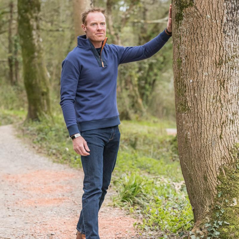 Touch of Tweed - Organic Cotton Navy Blue Quarter Zip Sweatshirt - British Tweed - Somerset