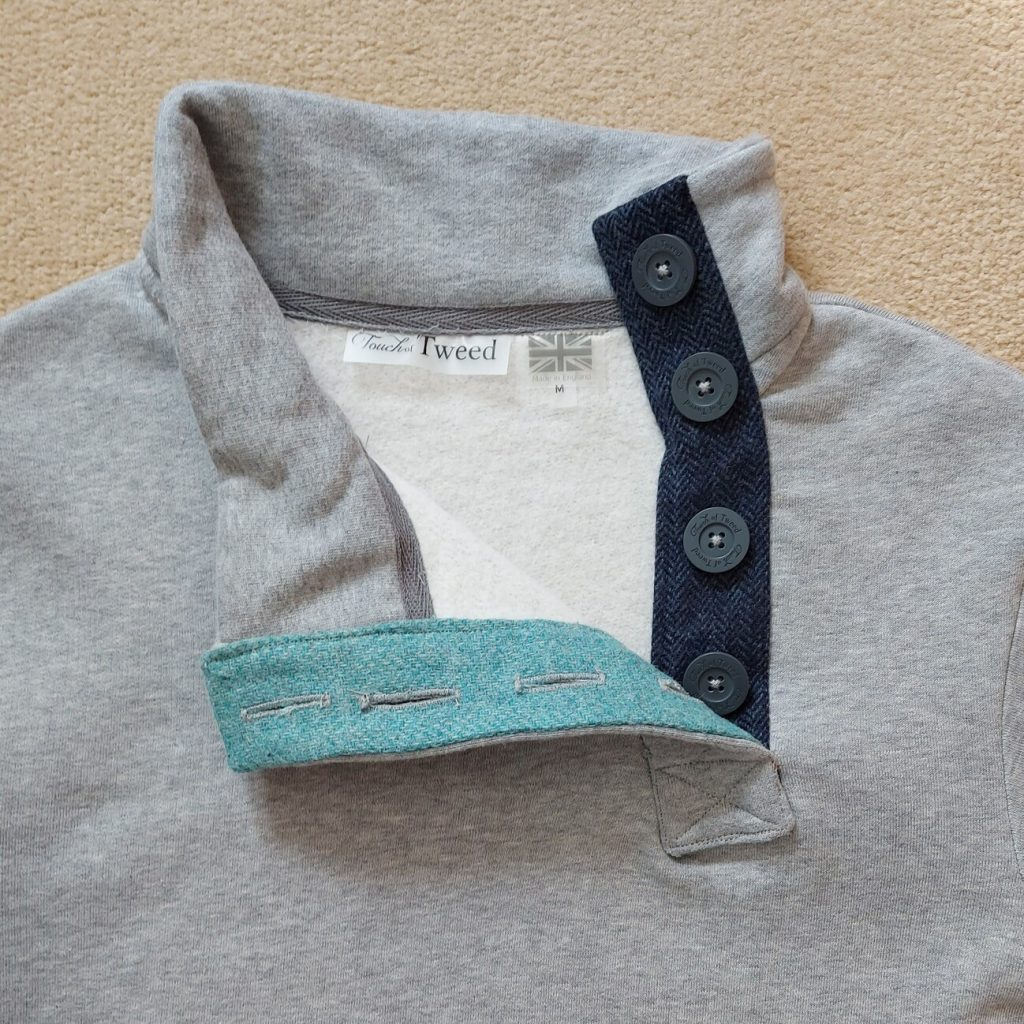 Touch of Tweed -teal and navy blue tweed button collar sweatshirt- Somerset