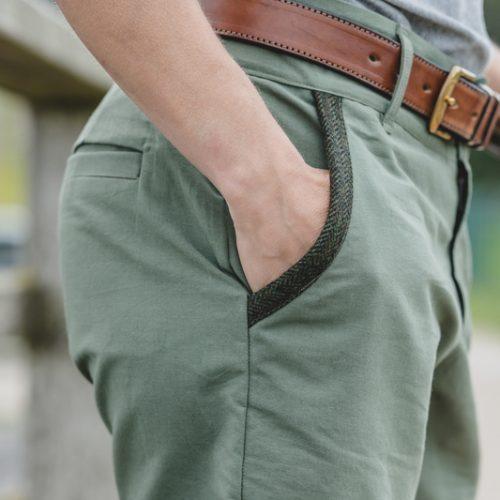 Touch of Tweed - Greem Hemp Shorts - Green tweed Pocket
